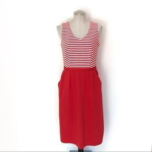 Boden Red Striped Dress w/Pockets Size 8L
